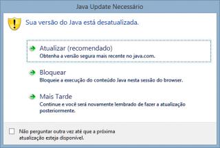 Janela de aviso para atualização do Java.