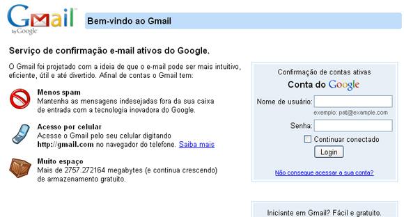 Site clone idêntico ao login do Gmail