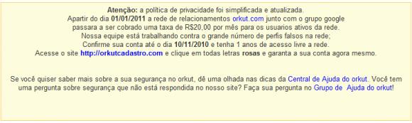 Mensagem do site fraudulento pede para usuário fazer recadastramento para o Orkut pago