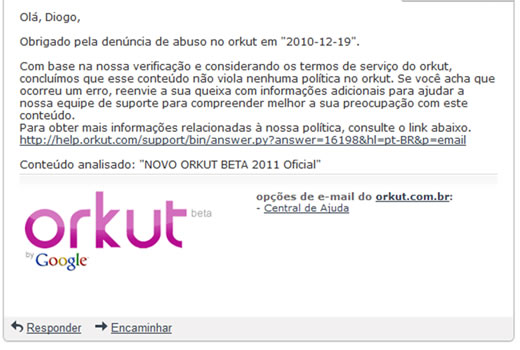 Resposta do Orkut