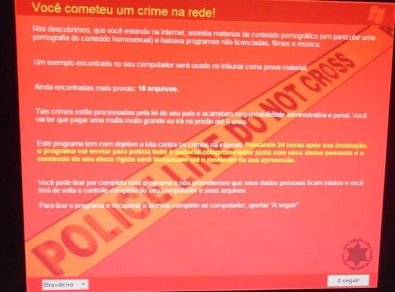 Você cometeu um crime na rede, diz imagem exibida por vírus.