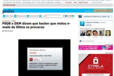 Site falso da Folha Online usado em golpe.