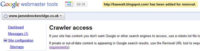 Falha no Google Webmaster Tools
