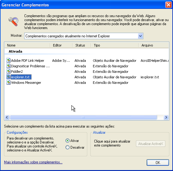 Complemento no Internet Explorer (Foto: Reprodução)