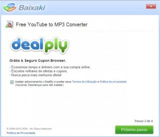 Instalador Baixaki oferecendo DealPly.