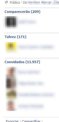 Facebook lista também quem não confirmou presença.