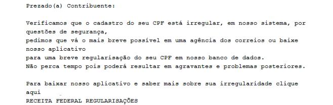 Fraude traz erros de português e formatação simples. (Reprodução)