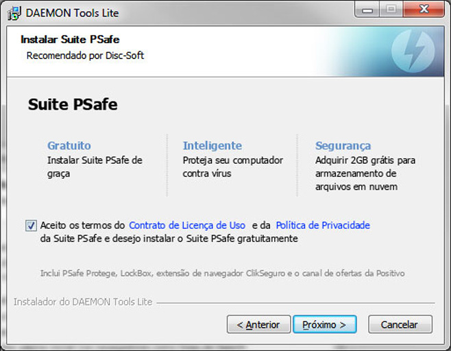Antivírus brasileiro PSafe também é extra já marcado por padrão no instalador.