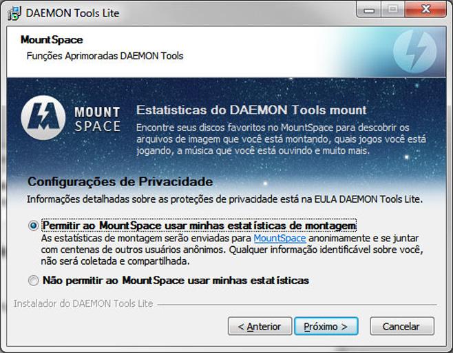 MountSpace coleta informações sobre os CDs e DVDs que você usar com o Daemon Tools.