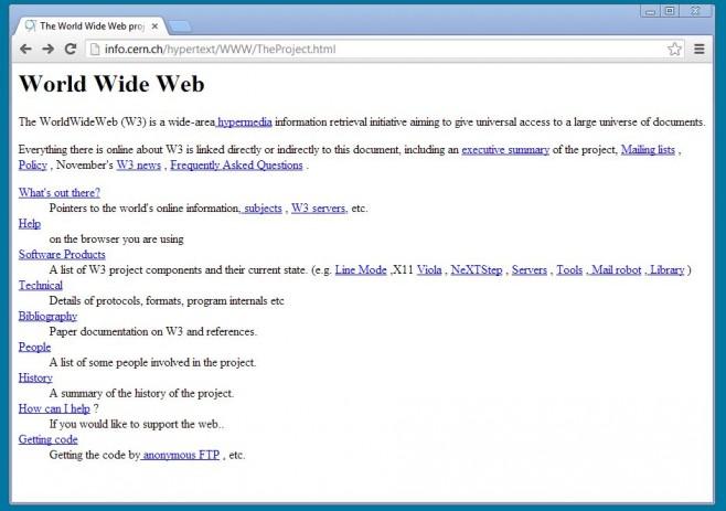 Primeiro site da 'WWW'. (Foto: Reprodução)