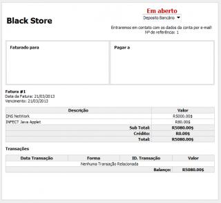 Recibo da Black Store. (Reprodução)