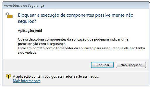 Aviso de problema de permissão do Java em um um banco. (Foto: Reprodução)