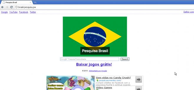 Página Brasil-pesquisa.pw, normalmente encontrada junto da infecção. (Foto: Reprodução)