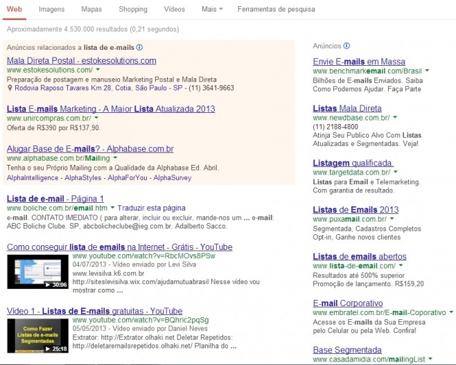 Obtendo serviços de spam no Google. (Foto: Reprodução)