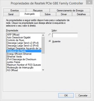 Janela para configurar endereço MAC no Windows.