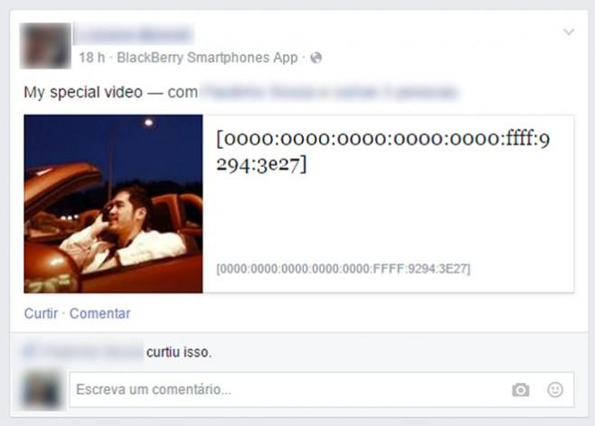 Publicação no Facebook com endereço IPv6 'fajuto'.