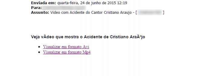 Golpe se aproveita da morte do cantor Cristiano Araújo e oferece suposto vídeo, mas entrega vírus. (Reprodução)