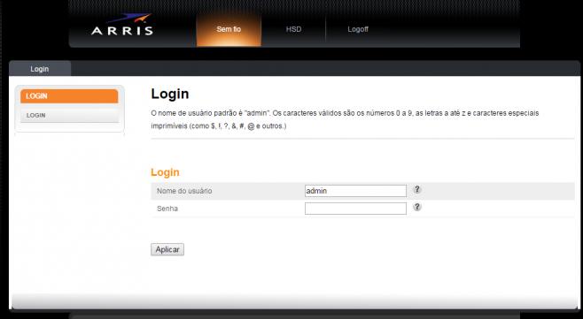 Login no modem ARRIS TG862. Usuário: admin / Senha: password