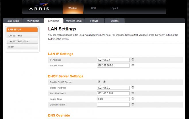 Acesso à aba LAN Setup