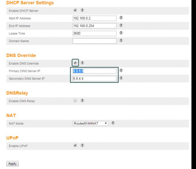 ARRIS configurado com o DNS Google, uma das opções para corrigir o problema.