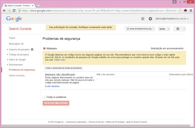Google bloqueou mas 'não conseguiu isolar' o malware.