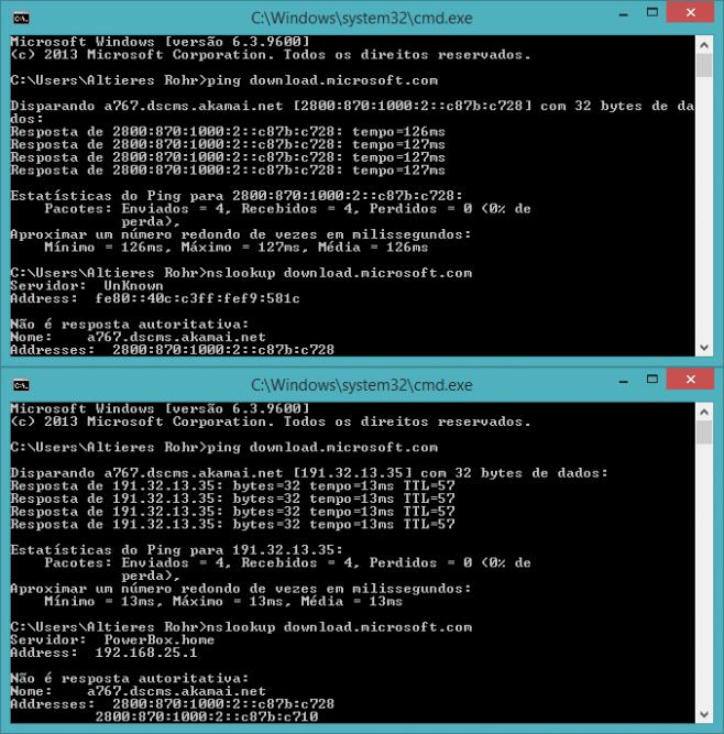 Conexão via IPv6 e IPv4