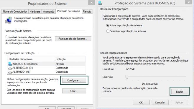Janela das configurações de restauração do sistema (proteção do sistema) no Windows 8.1.