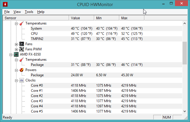 "Hardware Monitor, com temperatura do soquete (""CPU"") e núcleo (""Package"") de AMD FX-8350."